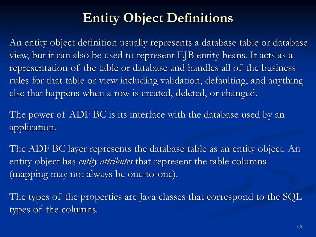 Entity Object Definitions