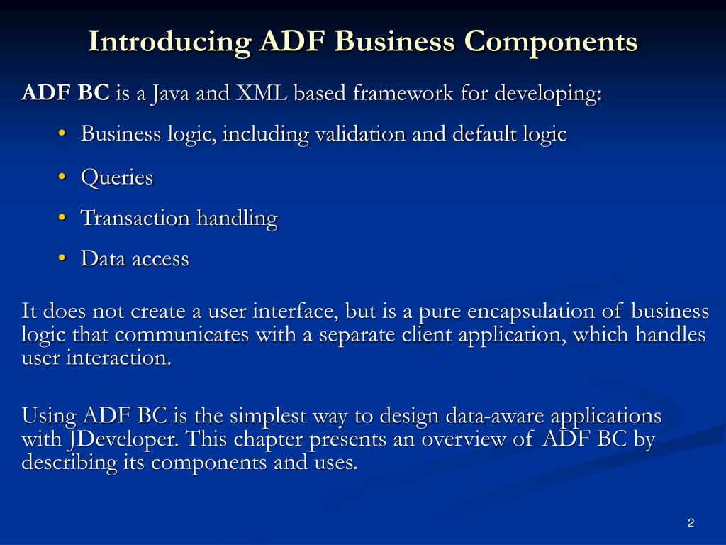 Introducing ADF Business Components