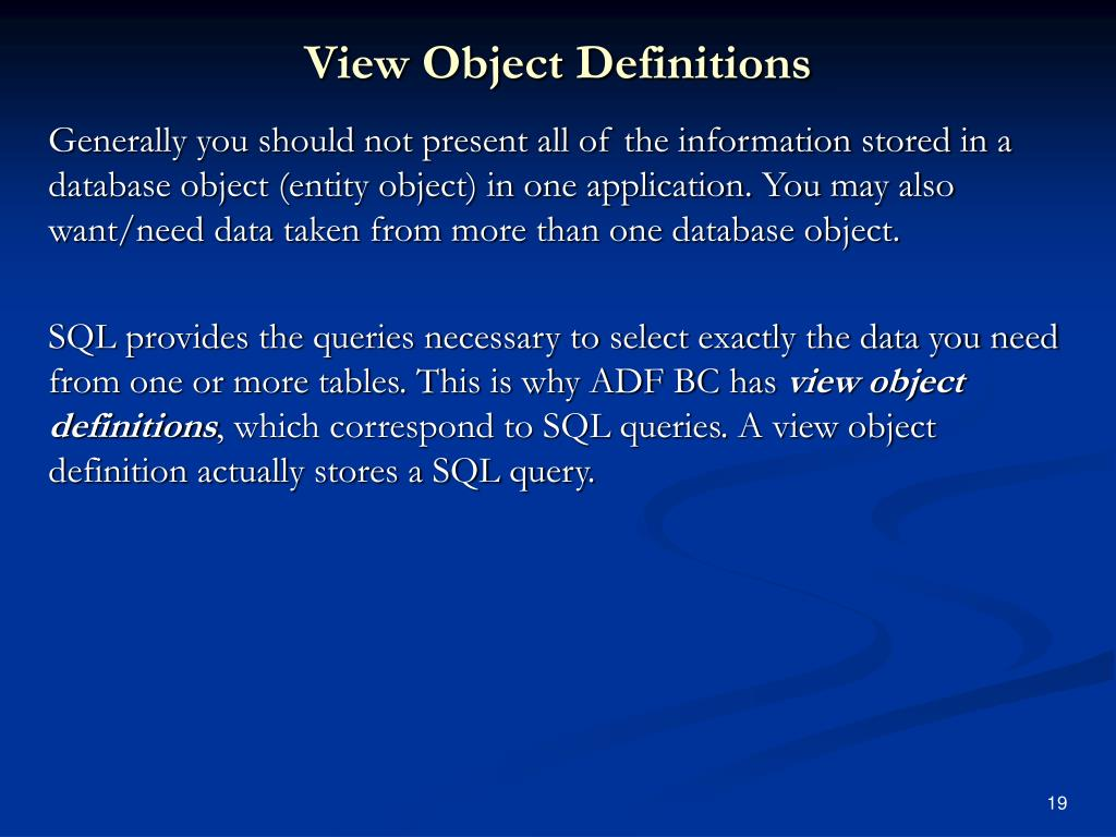 View Object Definitions