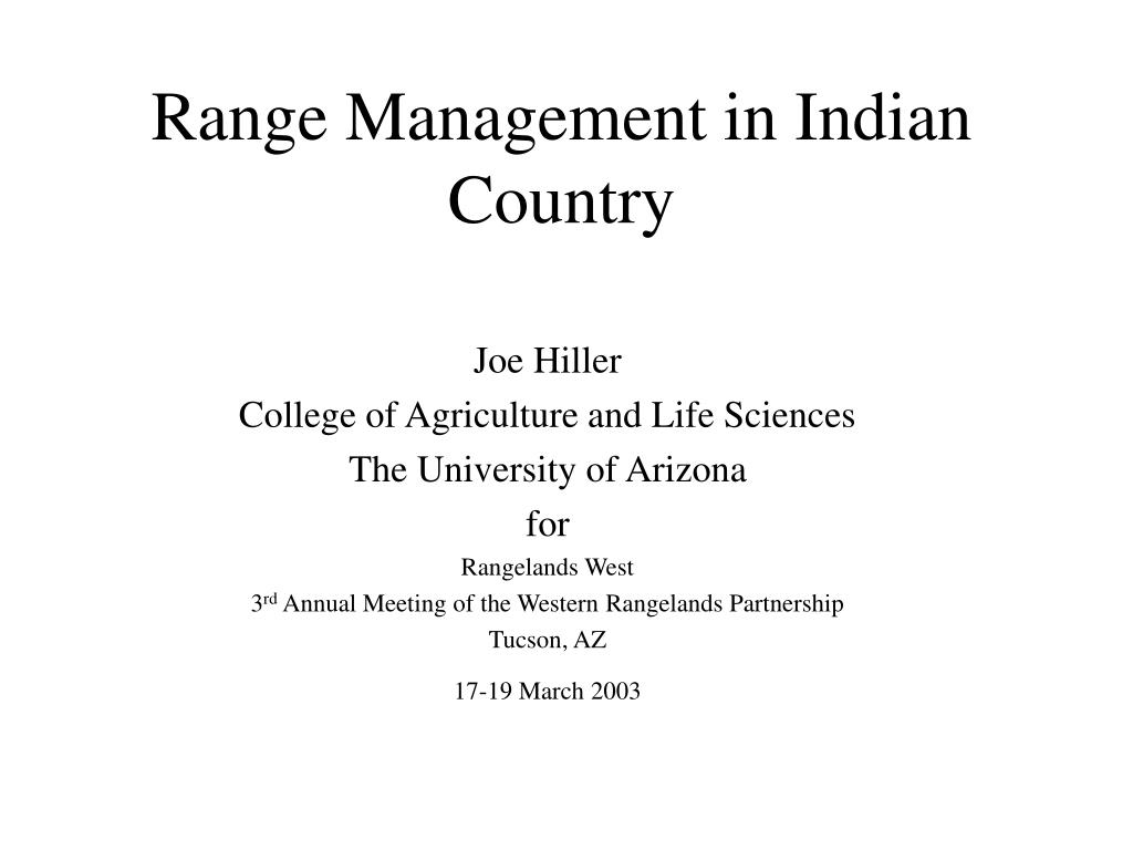 range management in indian country l.