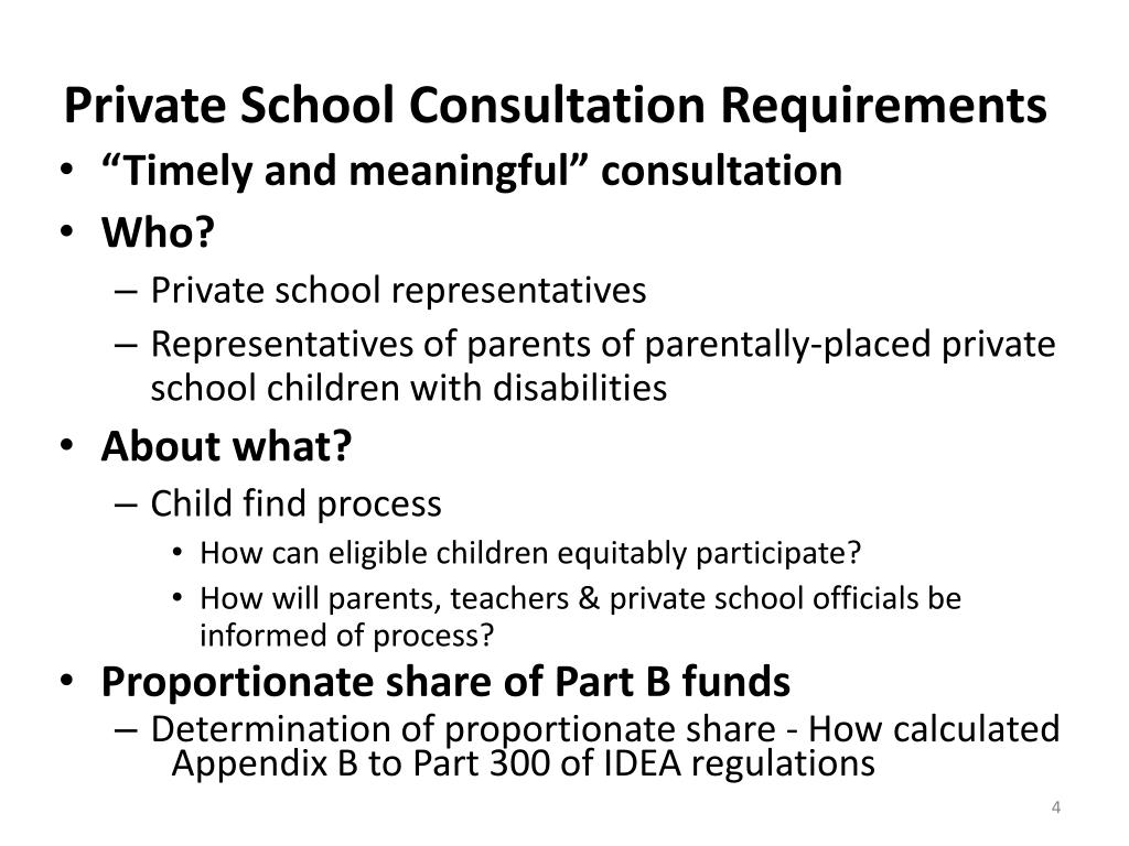 Private School Consultation Requirements