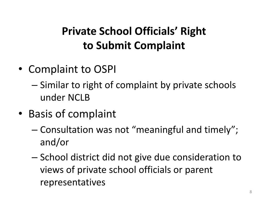 Private School Officials' Right