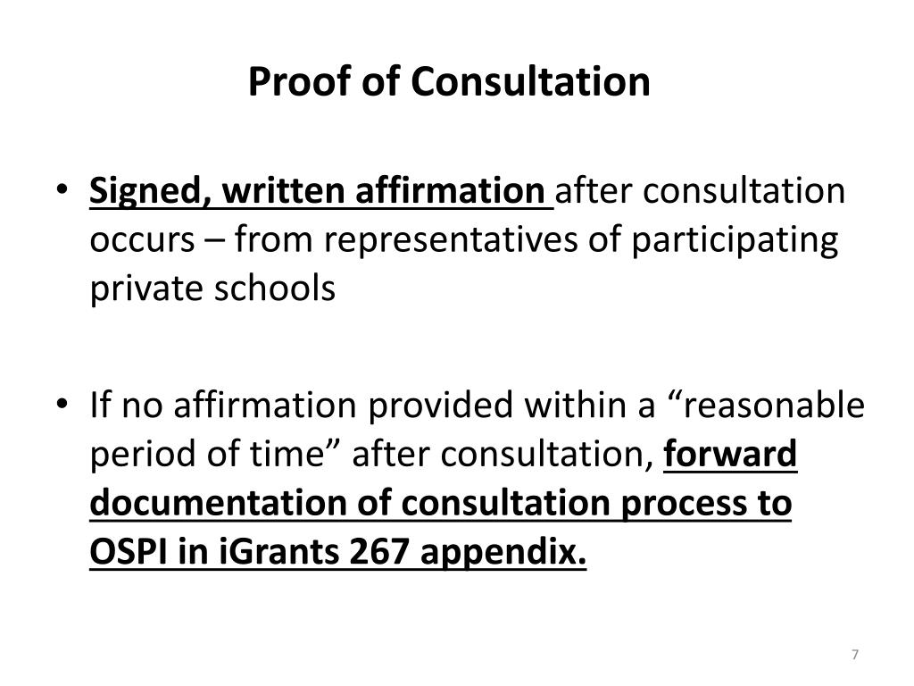 Proof of Consultation