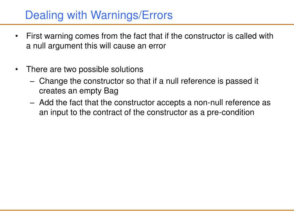 Dealing with Warnings/Errors