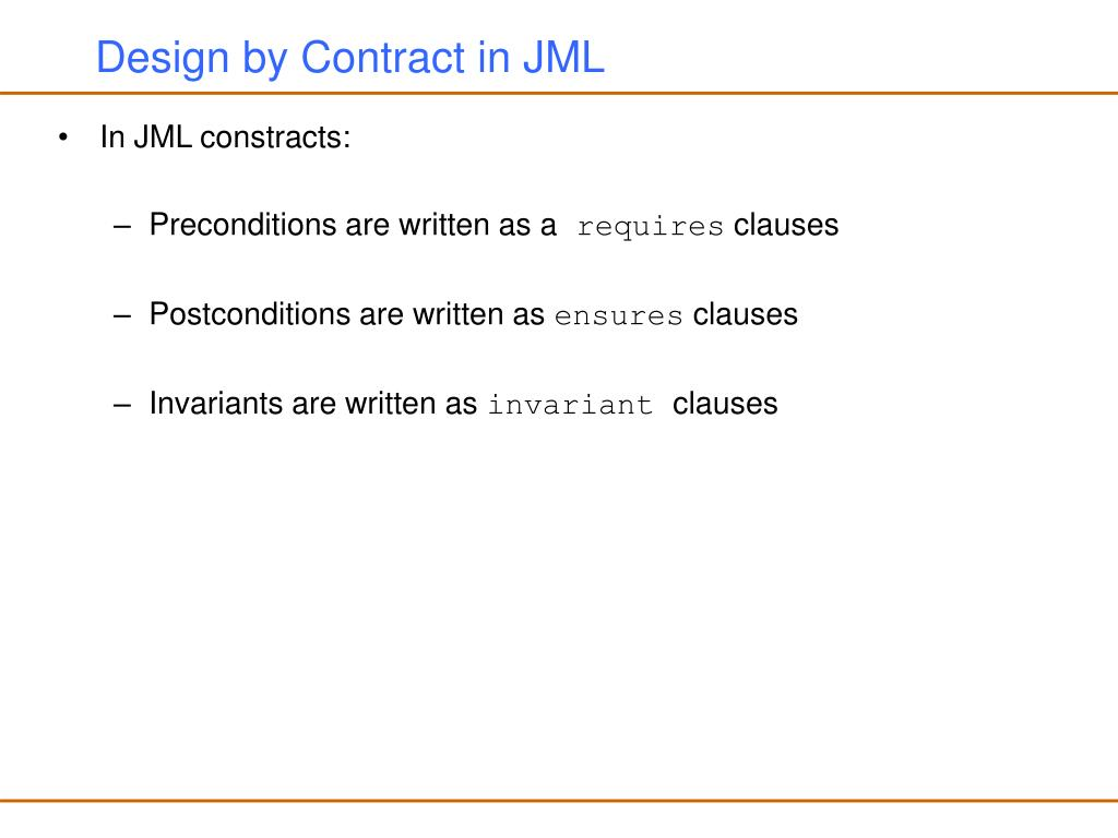 Design by Contract in JML