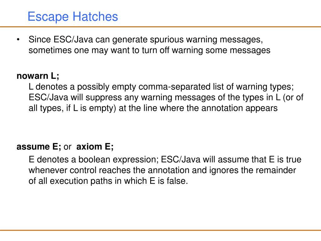 Escape Hatches
