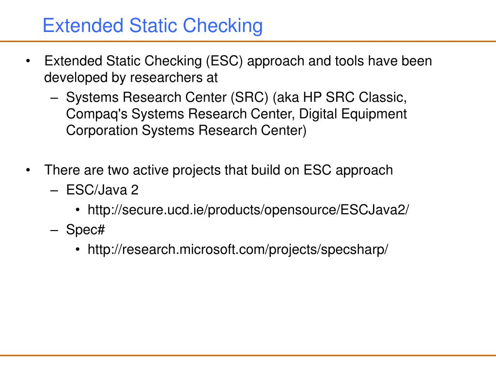 Extended Static Checking