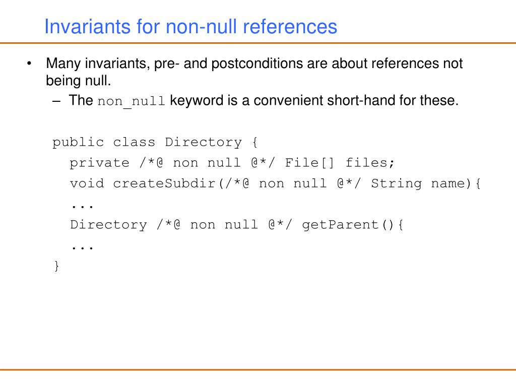 Invariants for non-null references