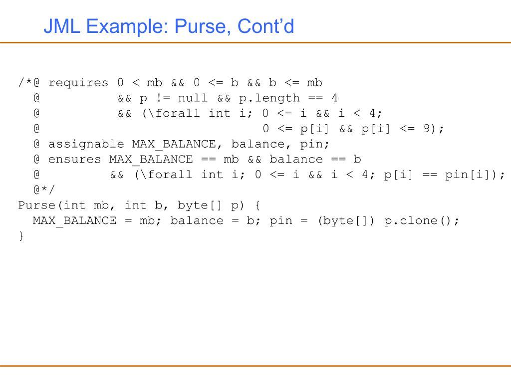 JML Example: Purse, Cont'd