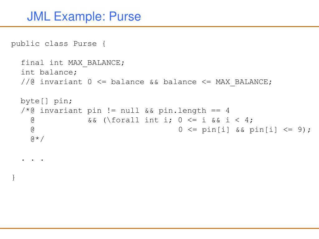 JML Example: Purse
