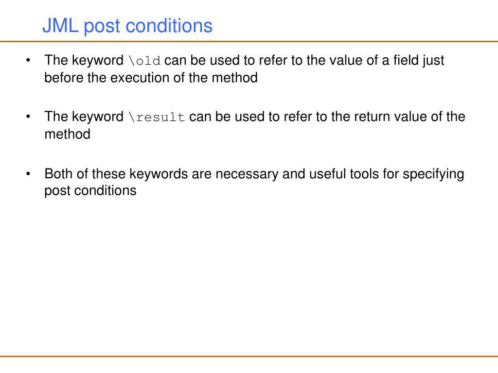 JML post conditions