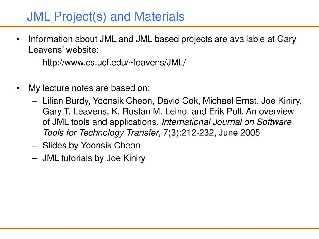JML Project(s) and Materials