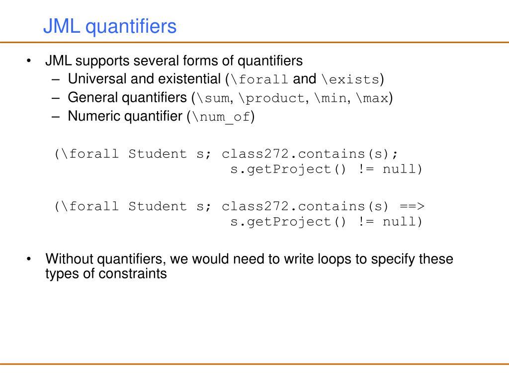 JML quantifiers