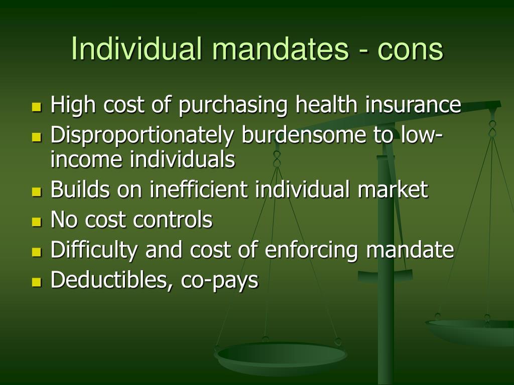 Individual mandates - cons