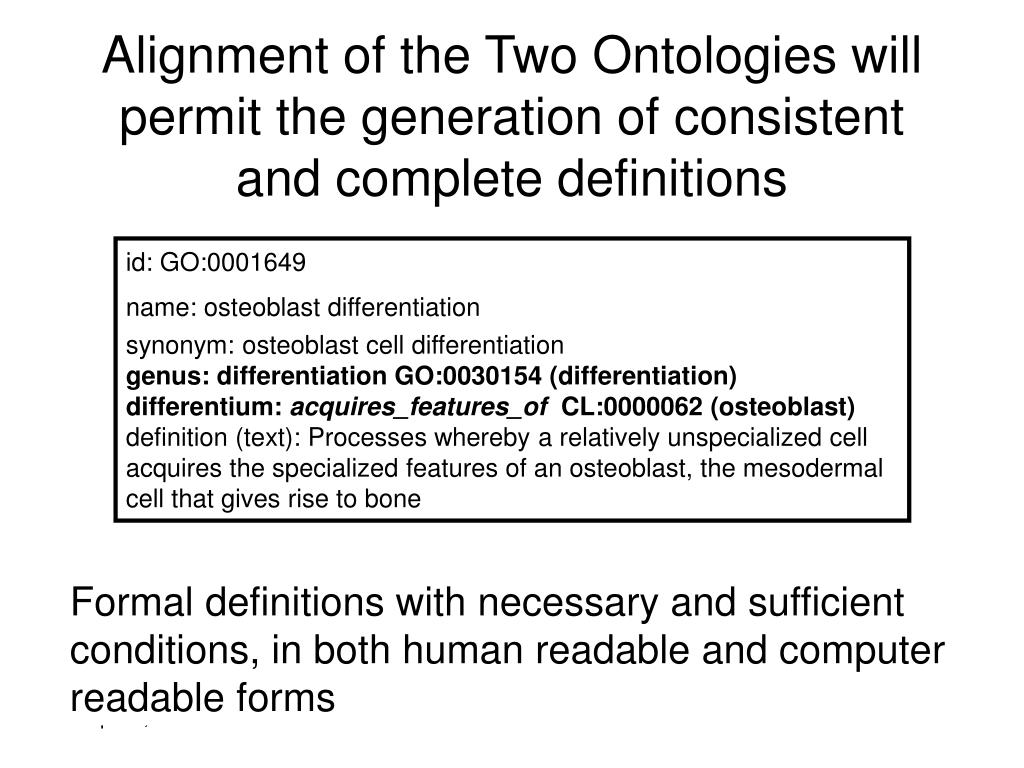 Alignment of the Two Ontologies will permit the generation of consistent and complete definitions