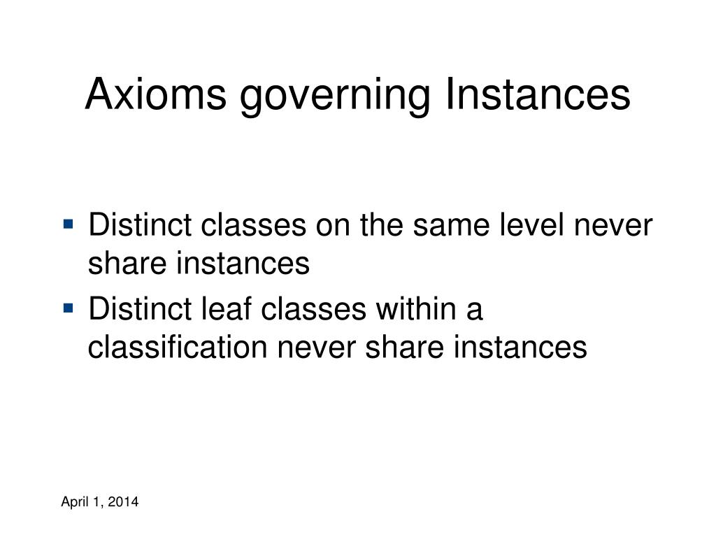 Axioms governing Instances