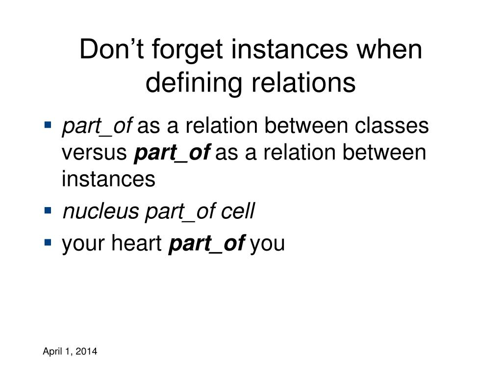Don't forget instances when defining relations