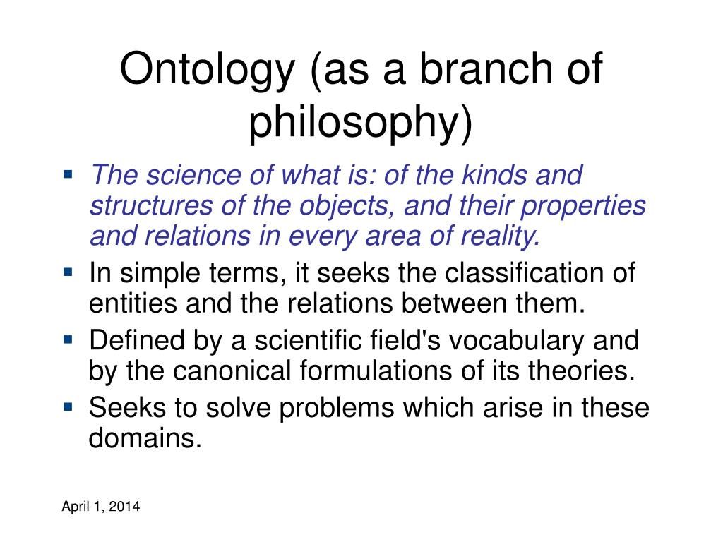 Ontology (as a branch of philosophy)