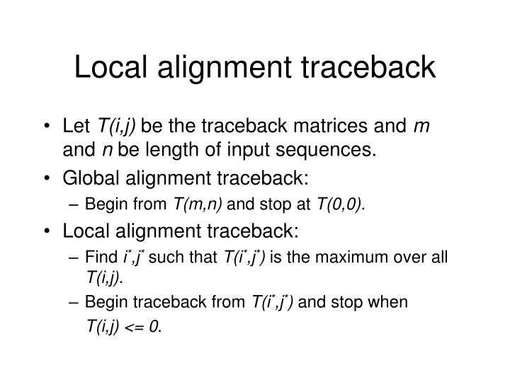 Local alignment traceback