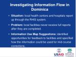 investigating information flow in dominica