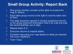 small group activity report back
