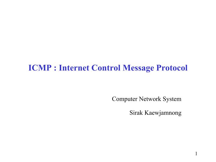 icmp internet control message protocol n.