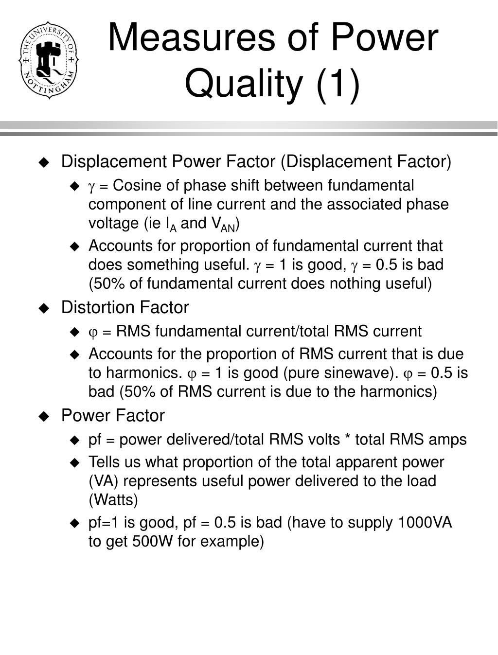 Measures of Power Quality (1)