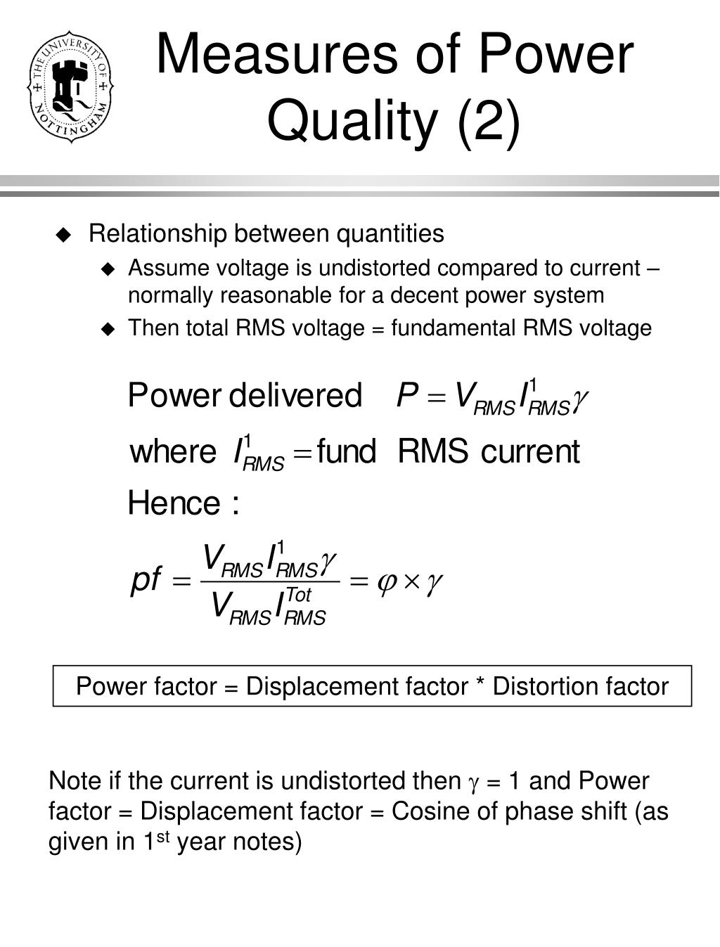 Measures of Power Quality (2)