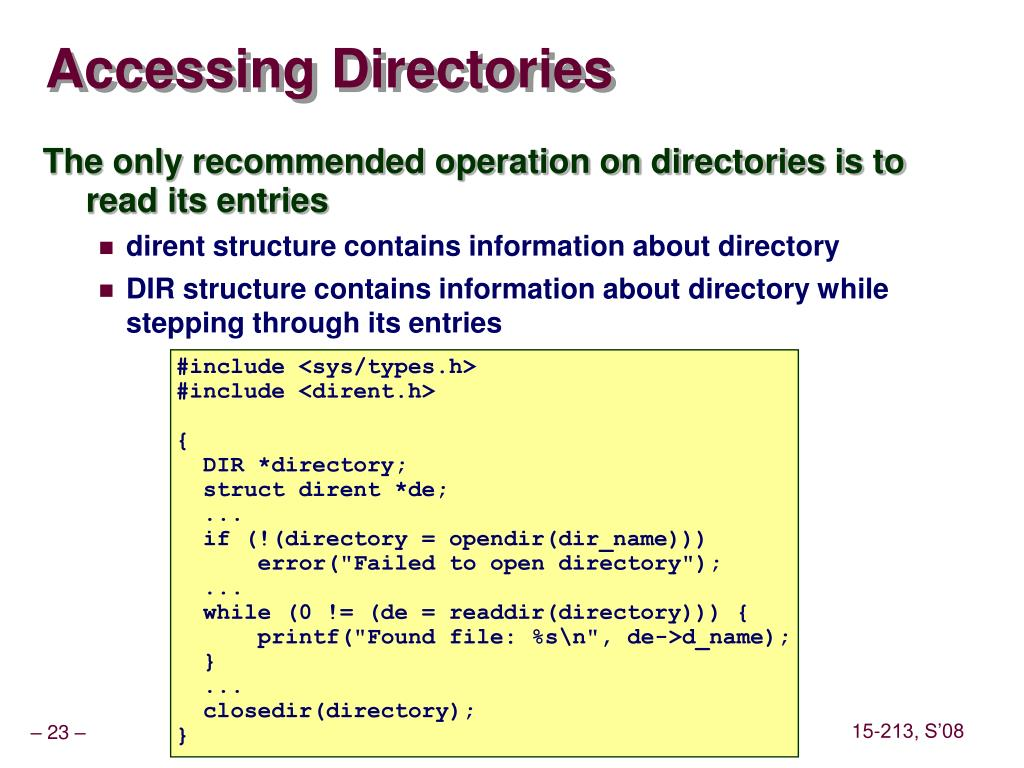 Accessing Directories