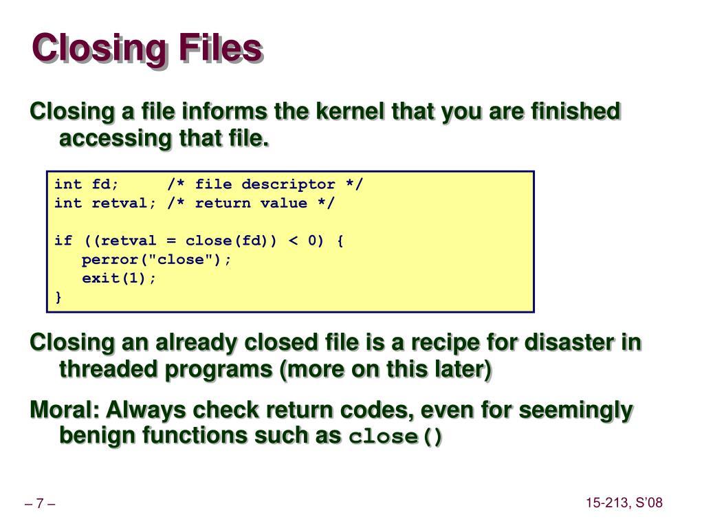 Closing Files