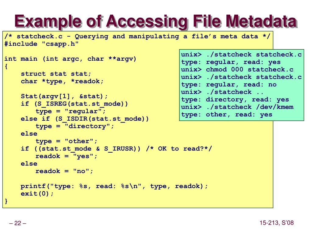 Example of Accessing File Metadata