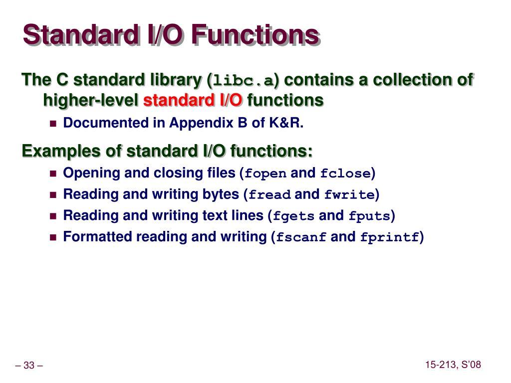 Standard I/O Functions
