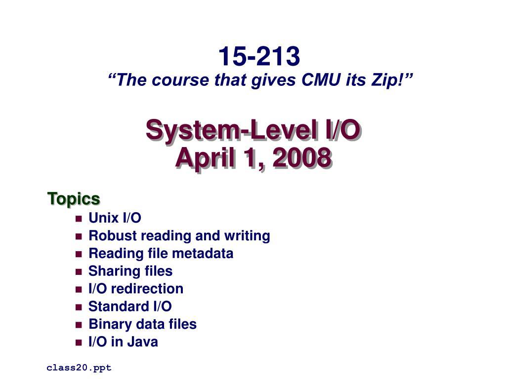 system level i o april 1 2008 l.