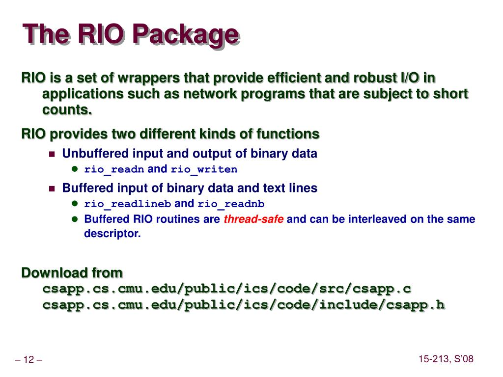 The RIO Package