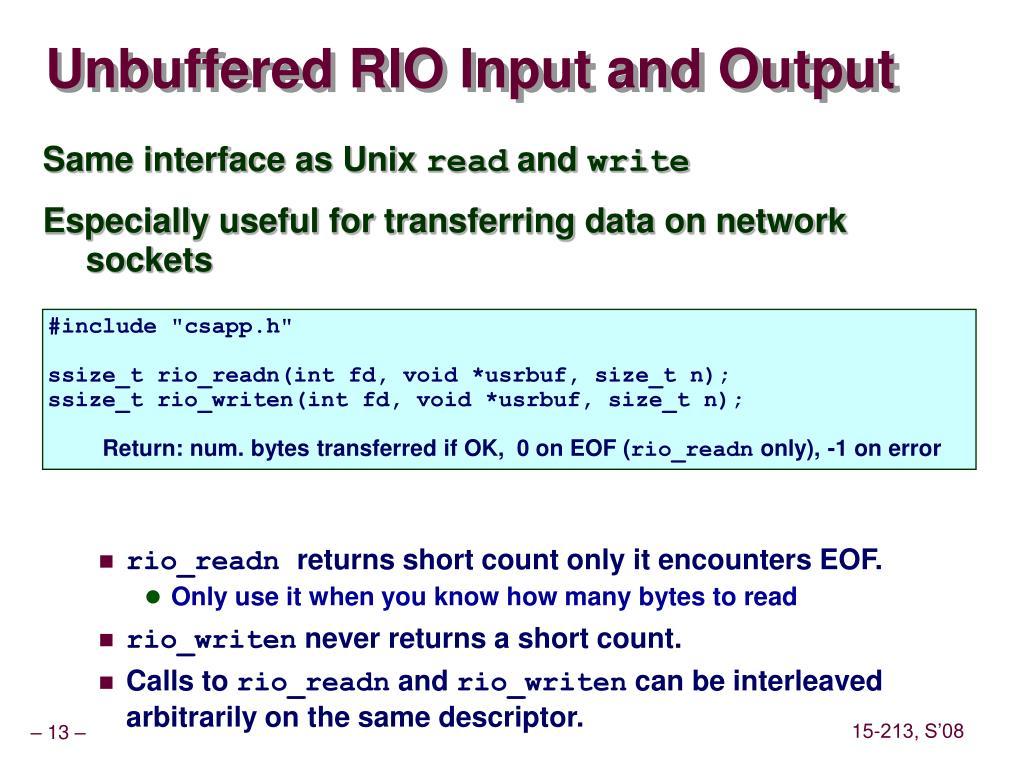 Unbuffered RIO Input and Output