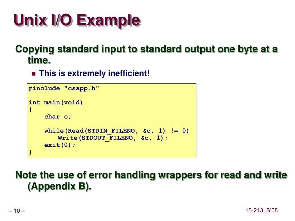 Unix I/O Example