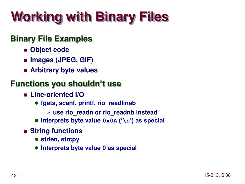 Working with Binary Files