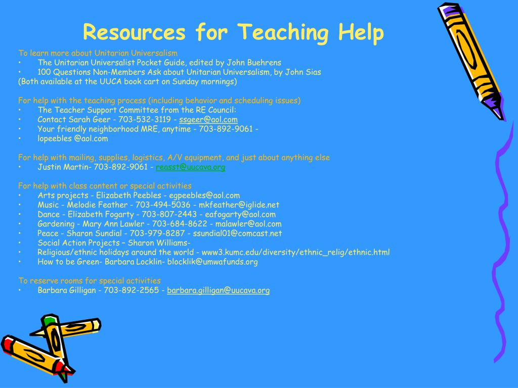 Resources for Teaching Help