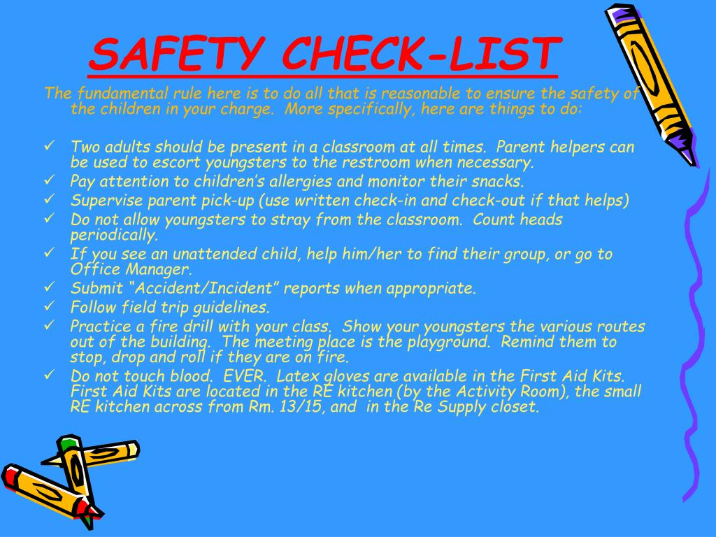 SAFETY CHECK-LIST