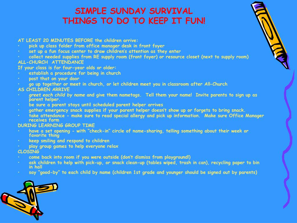 SIMPLE SUNDAY SURVIVAL