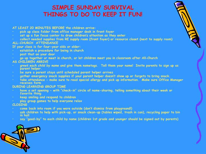 Simple sunday survival things to do to keep it fun