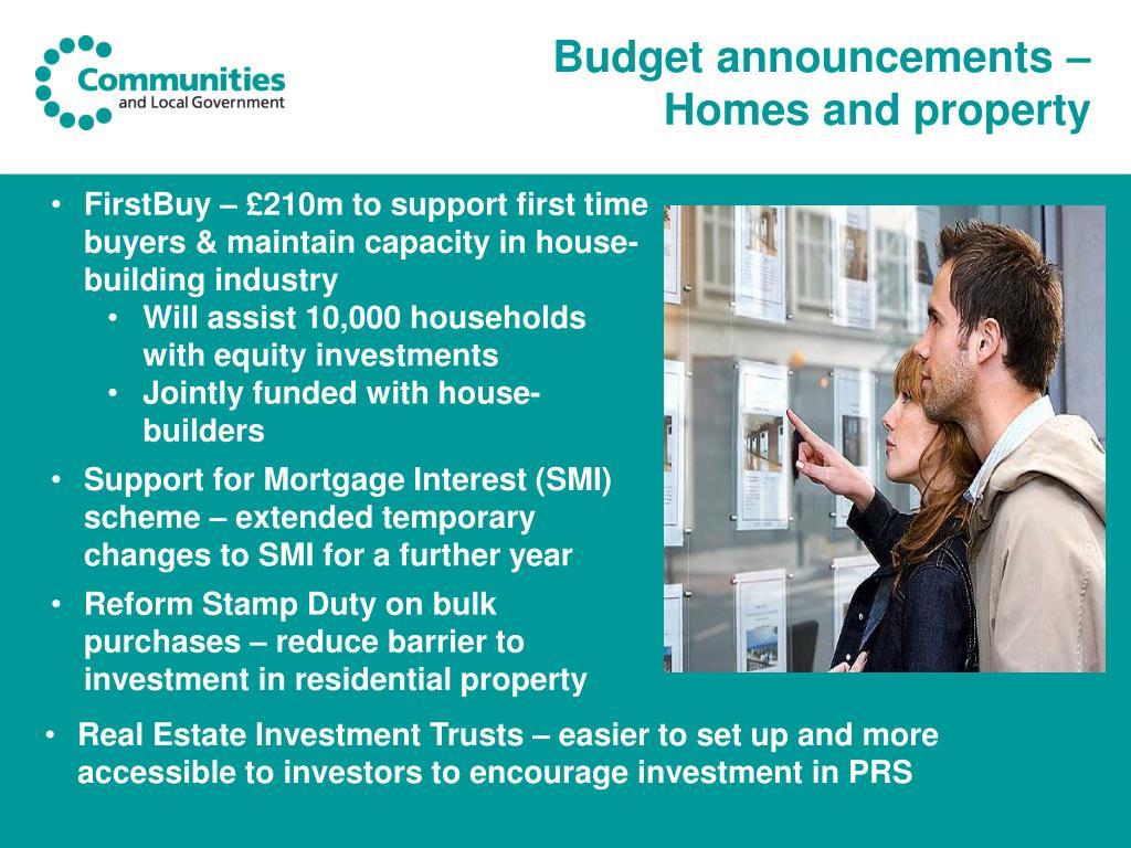 Budget announcements –