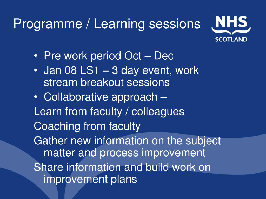Programme / Learning sessions