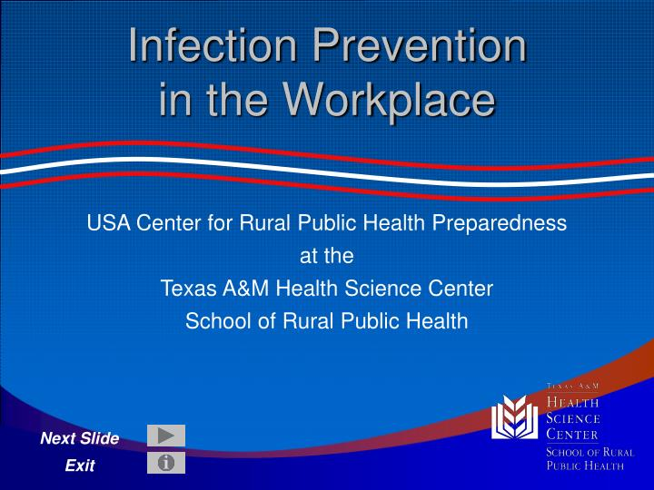 Infection prevention in the workplace