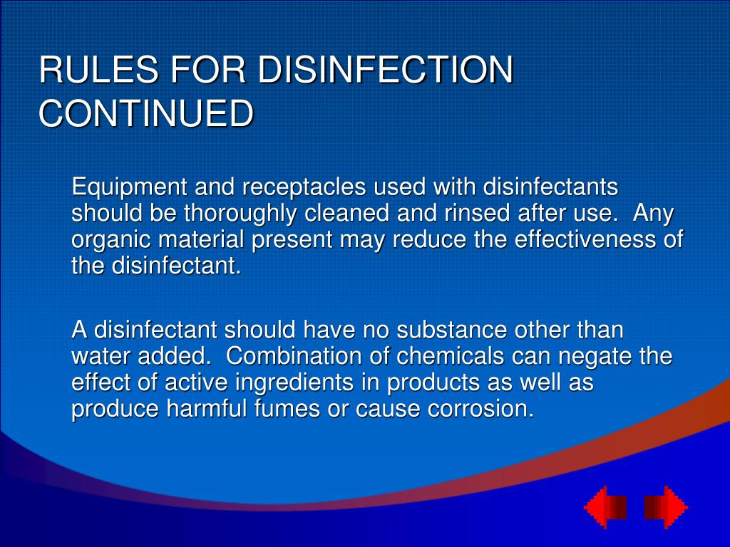RULES FOR DISINFECTION CONTINUED