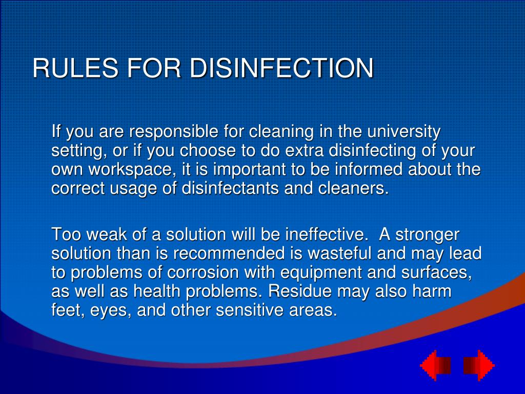 RULES FOR DISINFECTION