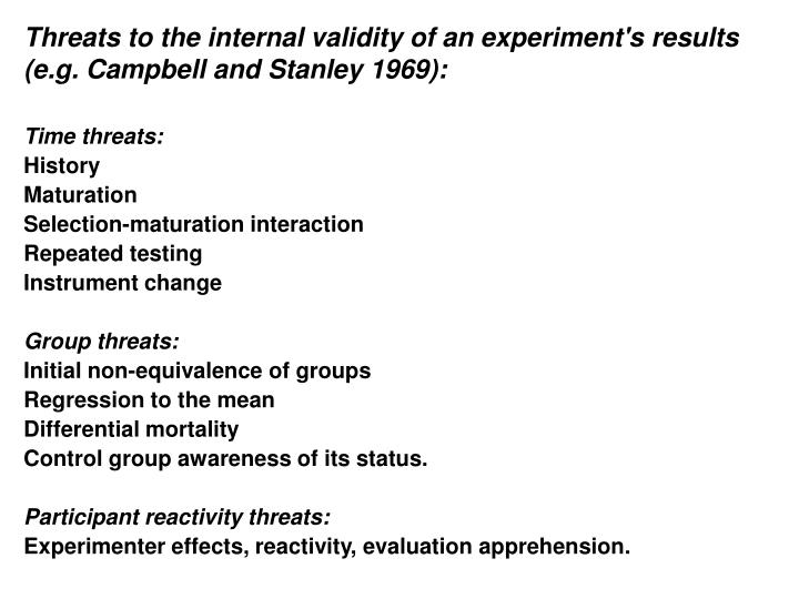 Threats to the internal validity of an experiment's results (e.g. Campbell and Stanley 1969):
