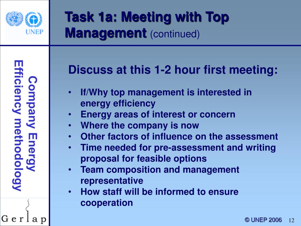 Task 1a: Meeting with Top Management