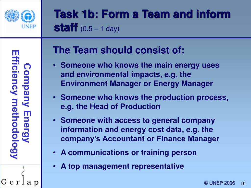 Task 1b: Form a Team and inform staff