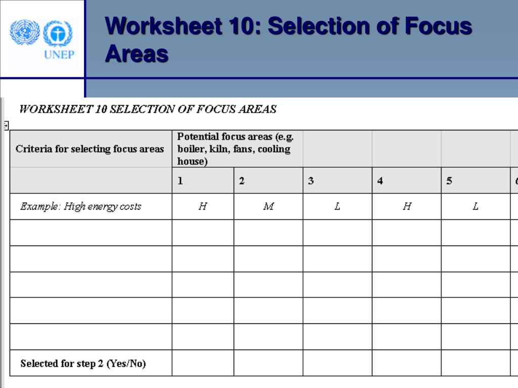Worksheet 10: Selection of Focus Areas